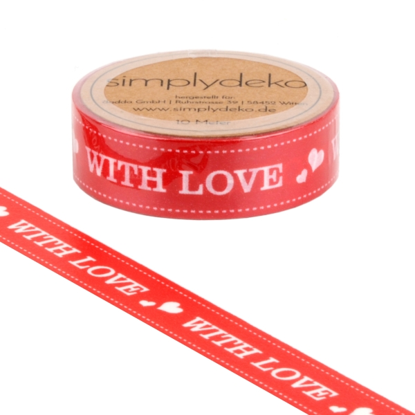 Masking Tape Washi-Tape Sprüche With Love in Rot