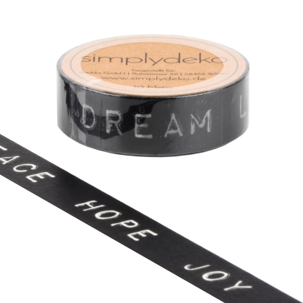Masking Tape Washi-Tape Sprüche Peace Hope Joy in Schwarz