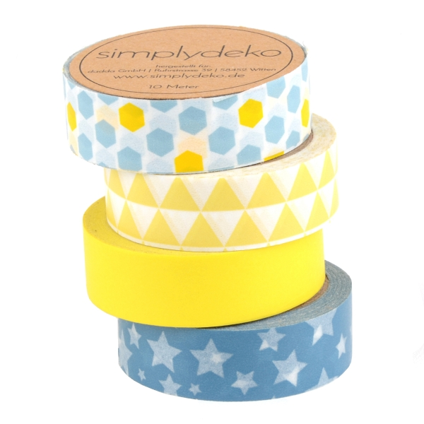 Masking Tape Washi-Tape Set Design in Gelb Blau