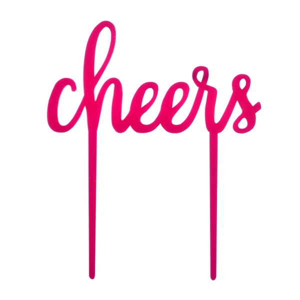 Cake-Topper Kuchenstecker Cheers aus Acryl in Magenta