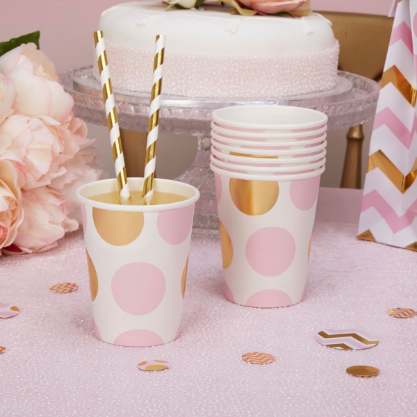 Partybecher Pappbecher Punkte in Rosa Gold