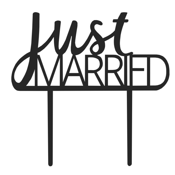 Cake-Topper Kuchenstecker Just Married aus Acryl in Schwarz