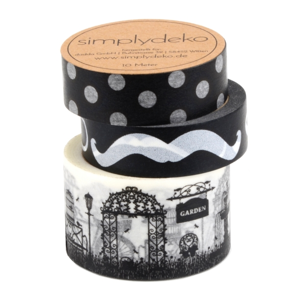 Masking Tape Washi-Tape Set Retro in Schwarz Weiß