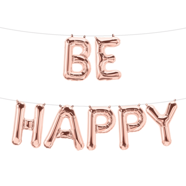 Folienballon-Set BE HAPPY in Rose Gold