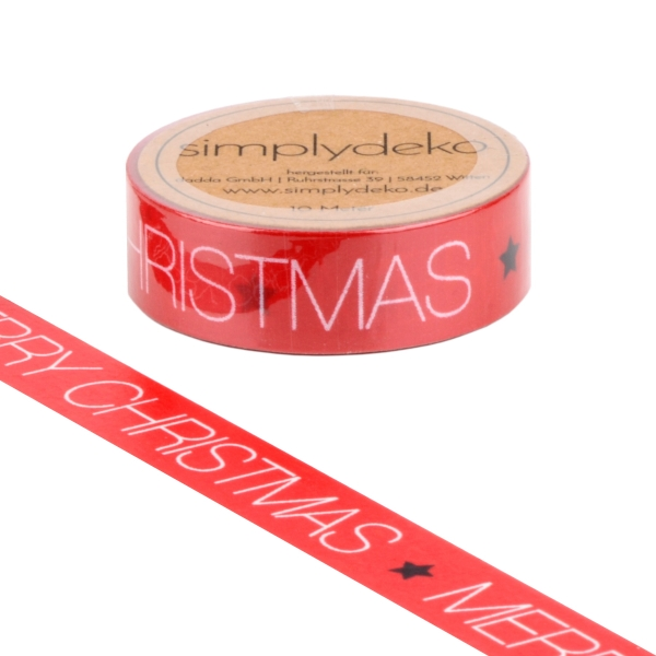 Masking Tape Washi-Tape Sprüche Merry Christmas in Rot