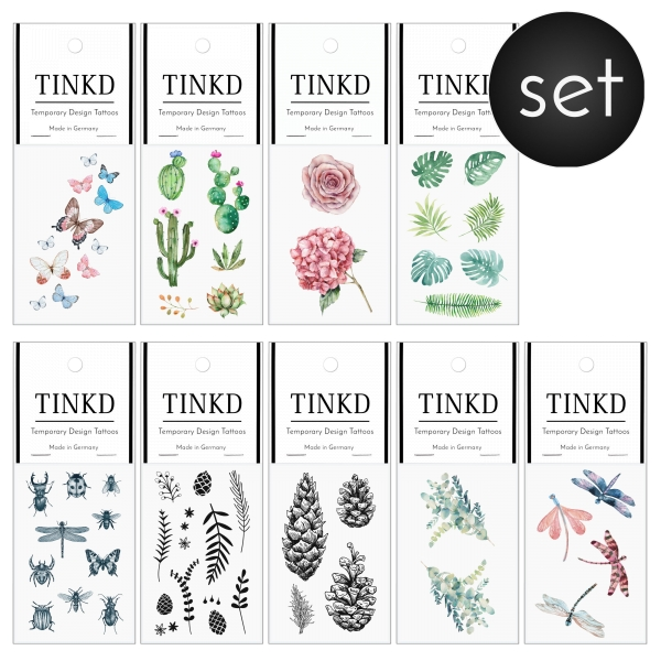 Klebetattoo Set Botanical watercolor monstera farn-blatt palm-blatt blueten blumen jungle grün TINKD 1