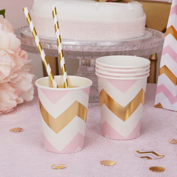 Pappbecher Partybecher Chevron in Rosa Gold
